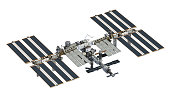 International Space Station Over White Background. 3D Illustration.