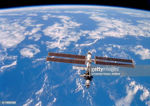 International Space Station photographed by crew members on the Space Shuttle Discovery after undocking on August 20 2001