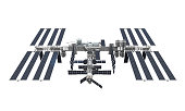International Space Station isolated on white background. 3D render