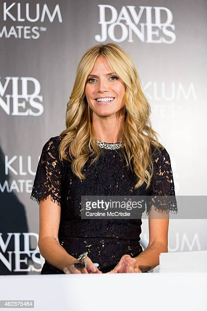 International supermodel Heidi Klum appears in store for a customer signing at David Jones Elizabeth Street Store on January 28 2015 in Sydney...