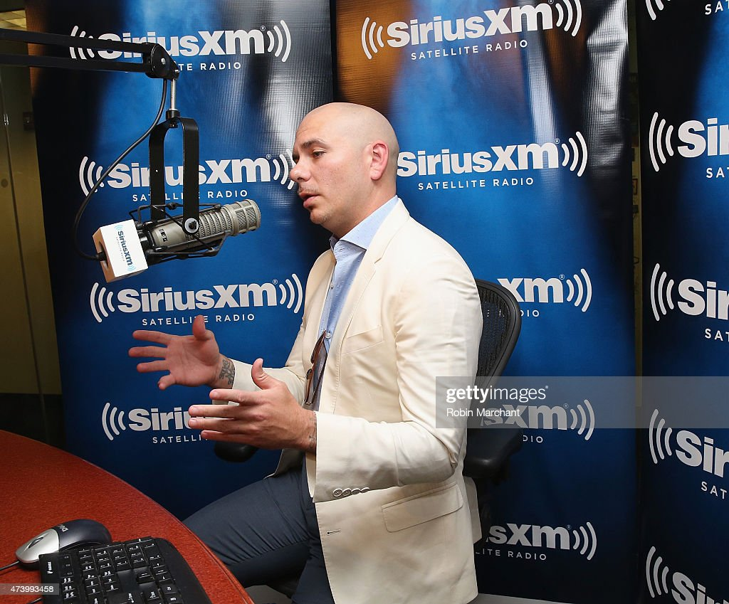International superstar Pitbull visits the SiriusXM studios for the launch of his SiriusXM channel Globalization on May 19 in New York City