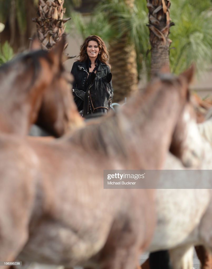 International superstar <a gi-track='captionPersonalityLinkClicked' href=/galleries/search?phrase=Shania+Twain&family=editorial&specificpeople=203173 ng-click='$event.stopPropagation()'>Shania Twain</a> rides up the Las Vegas Strip on horseback to greet fans on to The Colosseum at Caesars Palace on November 14, 2012 in Las Vegas, Nevada.