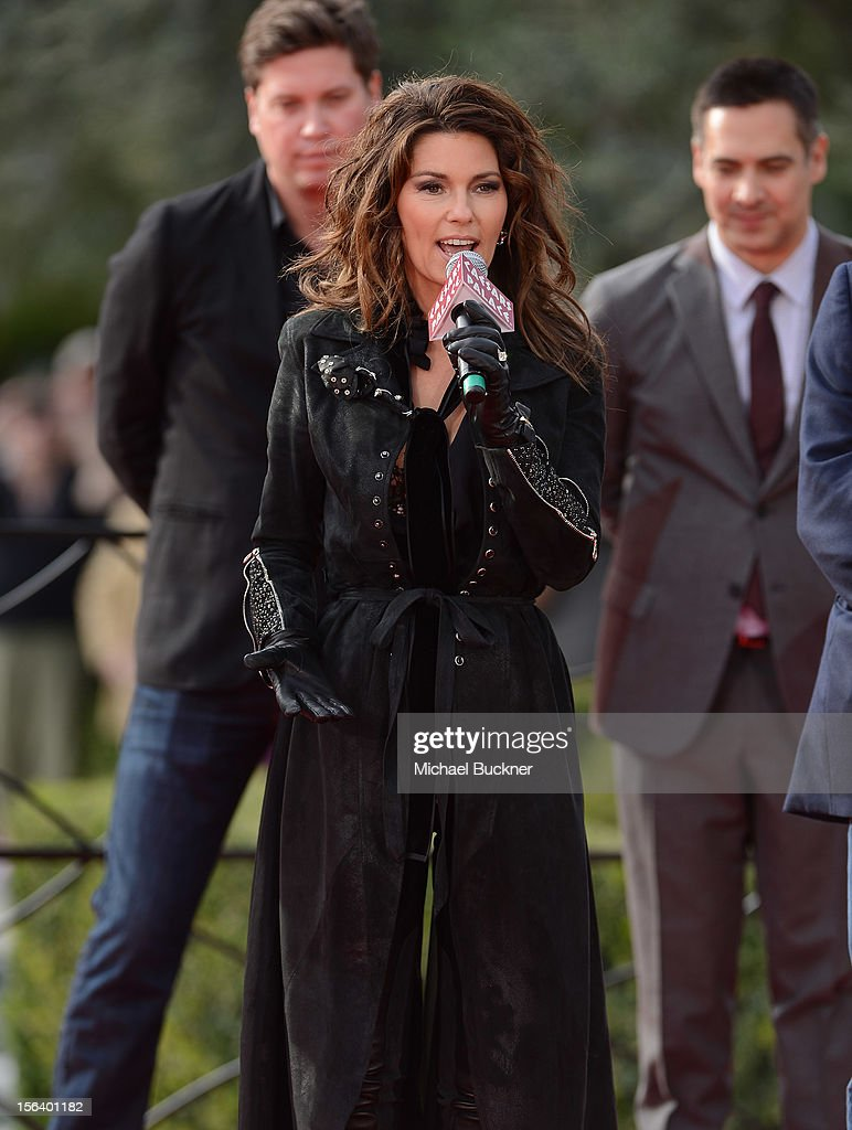International superstar Shania Twain speaks to fans after riding up the Las Vegas Strip on horseback to greet fans on to The Colosseum at Caesars Palace on November 14, 2012 in Las Vegas, Nevada.