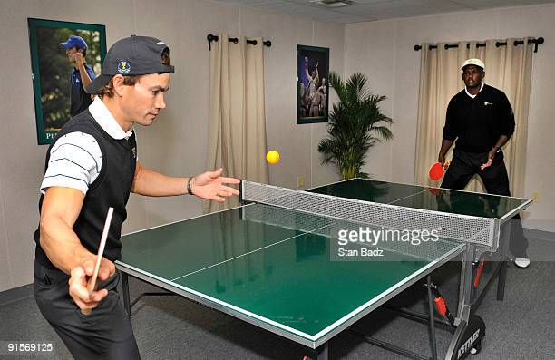 International team members Camilo Villegas left and Vijay Singh right play pingpong after their practice round for The Presidents Cup at Harding Park...