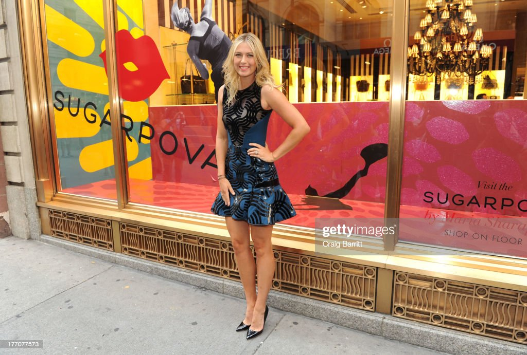 International tennis sensation <a gi-track='captionPersonalityLinkClicked' href=/galleries/search?phrase=Maria+Sharapova&family=editorial&specificpeople=157600 ng-click='$event.stopPropagation()'>Maria Sharapova</a> celebrates the one year anniversary of Sugarpova by launching 'Sugarpova Accessory Collection' exclusively at Henri Bendel on August 20, 2013 in New York City.