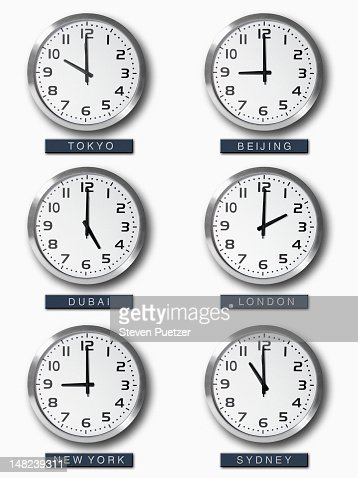 International Time Zone Clocks On Wall Stock Photo Getty