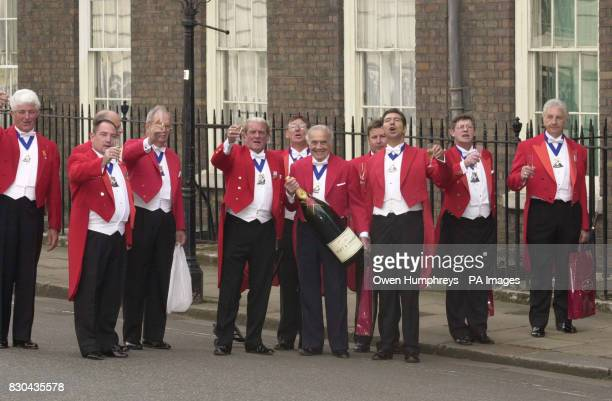 International Toastmasters arrive at Clarence HouseLondon with champagne to mark the 100th birthday of the Queen Mother On this special day the Queen...