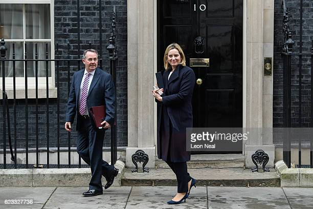 International Trade Secretary Liam Fox and Home Secretary Amber Rudd leave number 10 Downing Street following a Cabinet meeting on November 15 2016...