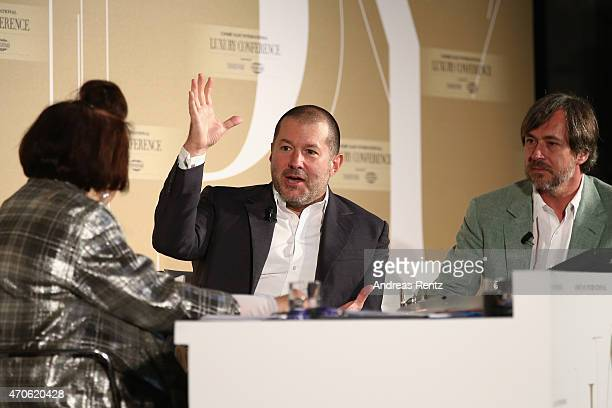International Vogue Editor Suzy Menkes Vice President of Design at Apple Jonathan Ive and Designer Marc Newson attend the Conde' Nast International...