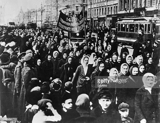 International women's day women demonstrate on petrograd's nevsky prospect shortly after the establishment of a provisional government russia...