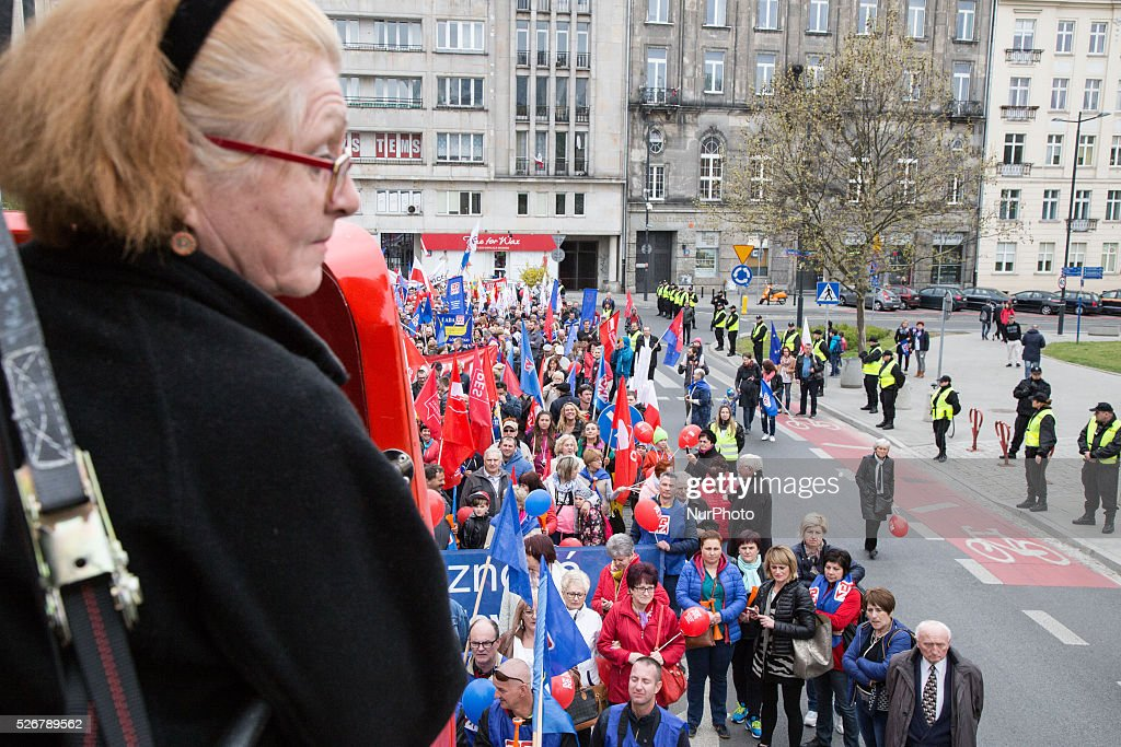 International Workers' Day parade in Warsaw on May 1, 2016.