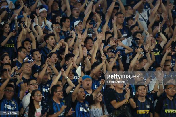 Internationale fans show their support during the 2017 International Champions Cup China match between Olympique Lyonnais and FC Internationale at...