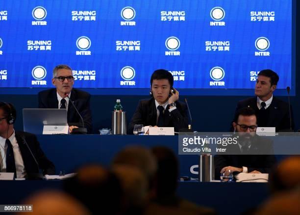 CEO FC Internazionale Alessandro Antonello FC Internazionale Milano board member Steven Zhang Kangyang and Vice President FC Internazionale Javier...