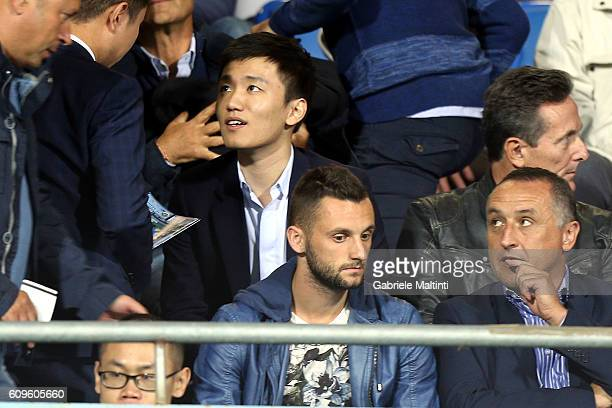 Internazionale board member Steven Zhang and Marcelo Brozovic attends the Serie A match between Empoli FC and FC Internazionale at Stadio Carlo...