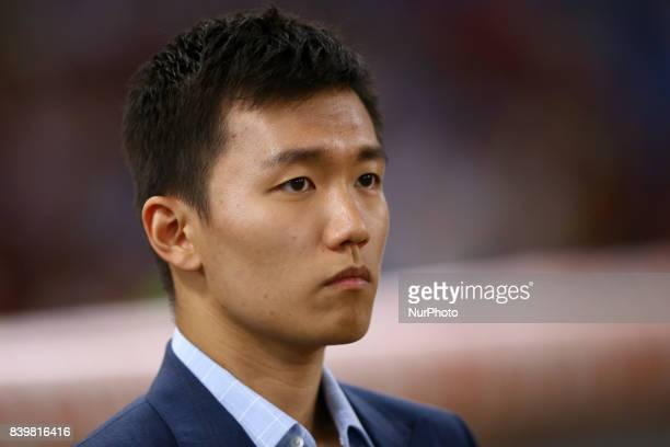 FC Internazionale board member Steven Zhang during the Serie A match between AS Roma and FC Internazionale on August 26 2017 in Rome Italy