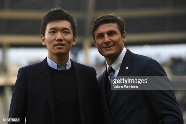 Internazionale board member Steven Zhang Kangyang and and Vice President of FC Internazionale Javier Zanetti look on prior to he Serie A match...