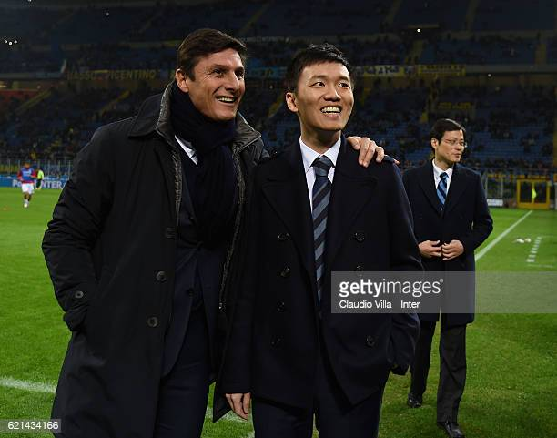Internazionale board member Steven Zhang Kangyang and Vice President Javier Zanetti attend the Serie A match between FC Internazionale and FC Crotone...
