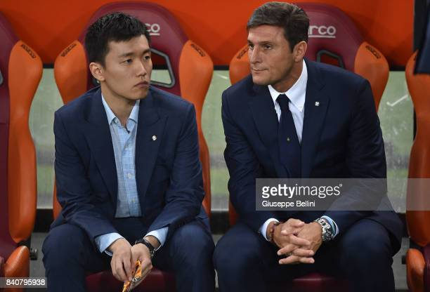 Internazionale board member Steven Zhang Kangyang and Vice President of FC Internazionale Javier Zanetti prior the Serie A match between AS Roma and...