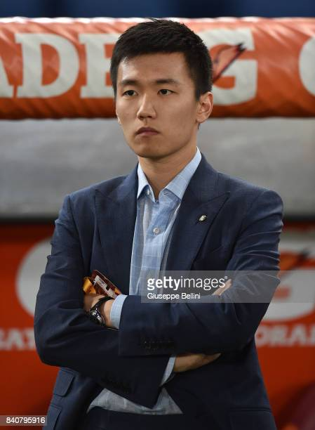 Internazionale board member Steven Zhang Kangyang looks on prior the Serie A match between AS Roma and FC Internazionale at Stadio Olimpico on August...