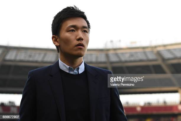 Internazionale board member Steven Zhang Kangyang looks on prior to he Serie A match between FC Torino and FC Internazionale at Stadio Olimpico di...