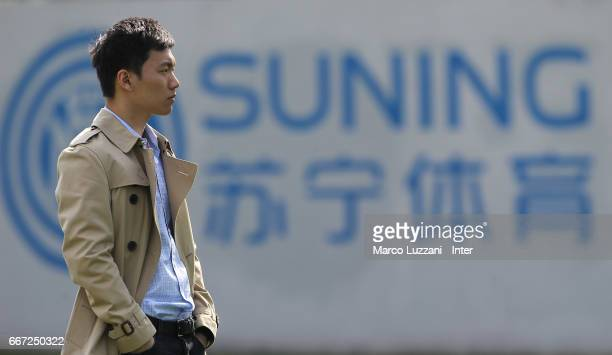 Internazionale board member Steven Zhang looks on during the FC Internazionale training session at the club's training ground 'La Pinetina' on April...