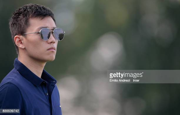 Internazionale board member Steven Zhang looks on during the FC Internazionale training session at the club's training ground Suning Training Center...