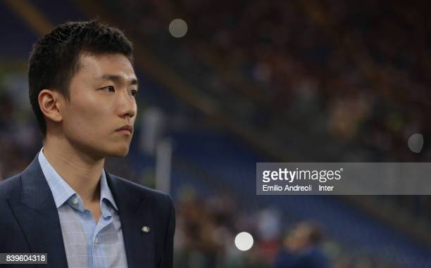 Internazionale board member Steven Zhang looks on prior to the Serie A match between AS Roma and FC Internazionale on August 26 2017 in Rome Italy