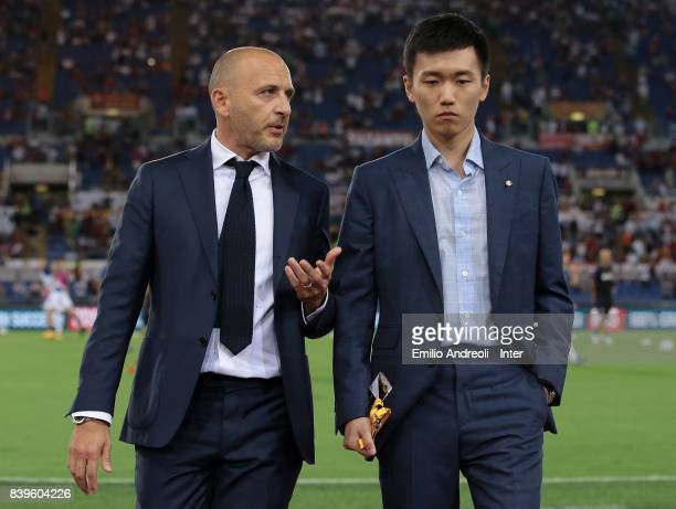 Internazionale board member Steven Zhang speaks to Sportif Director of FC Internazionale Milano Piero Ausilio prior to the Serie A match between AS...