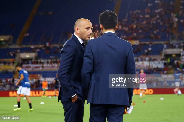 FC Internazionale board member Steven Zhang with the Sportif Director Piero Ausilio during the Serie A match between AS Roma and FC Internazionale on...
