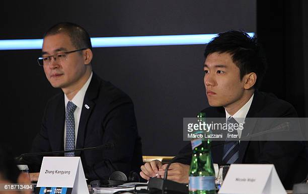 Internazionale board member Yang Yang and FC Internazionale board member Steven Zhang look on during FC Internazionale Shareholder's Meeting on...