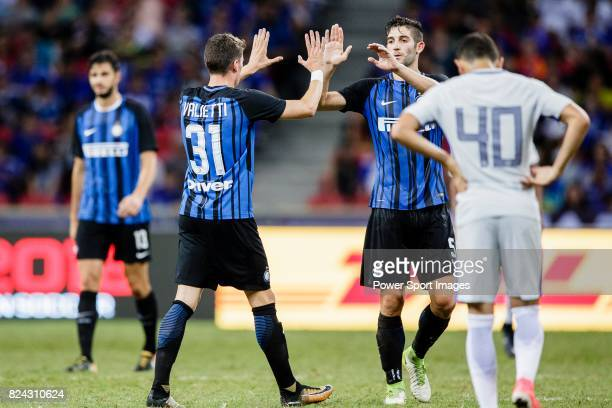 Internazionale Defender Federico Valietti and FC Internazionale Midfielder Roberto Gagliardini celebrating after winning Chelsea during the...