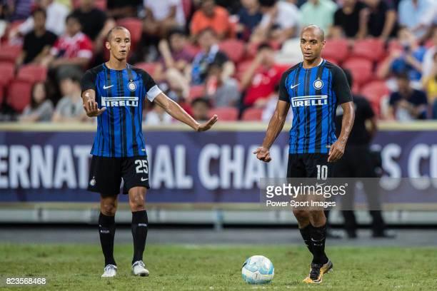 Internazionale Defender Joao Miranda and FC Internazionale Midfielder Joao Mario in action during the International Champions Cup match between FC...