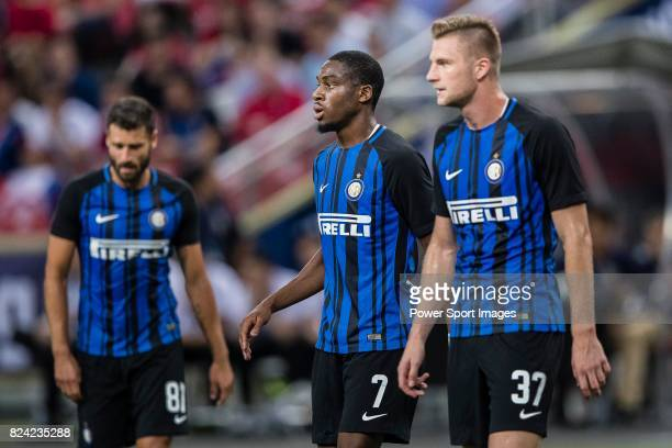 Internazionale Defender Milan Skriniar and FC Internazionale Midfielder Geoffrey Kondogbia during the International Champions Cup match between FC...