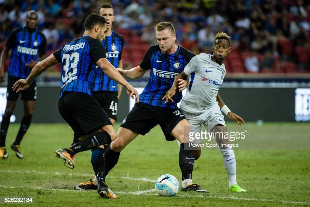 Internazionale Defender Milan Skriniar battles for the ball with Chelsea Midfielder Charly Musonda during the International Champions Cup 2017 match...