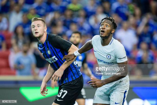 Internazionale Defender Milan Skriniar competes for the ball with Chelsea Forward Michy Batshuayi during the International Champions Cup 2017 match...