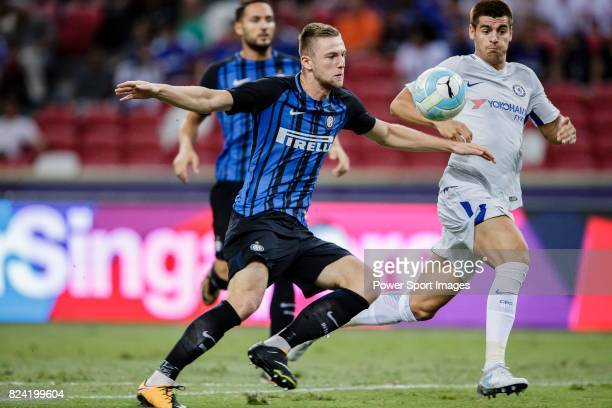 Internazionale Defender Milan Skriniar fights for the ball with Chelsea Forward Alvaro Morata during the International Champions Cup 2017 match...