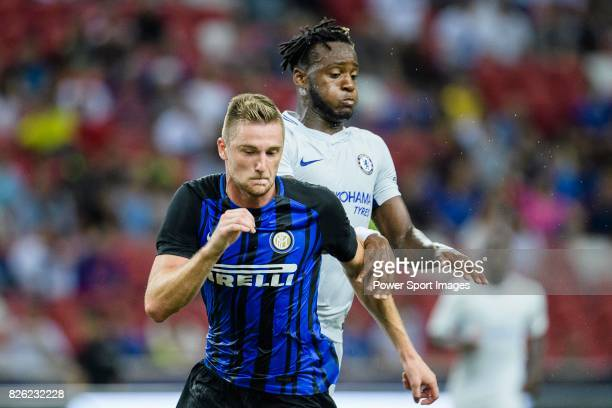 Internazionale Defender Milan Skriniar fights for the ball with Chelsea Forward Michy Batshuayi during the International Champions Cup 2017 match...