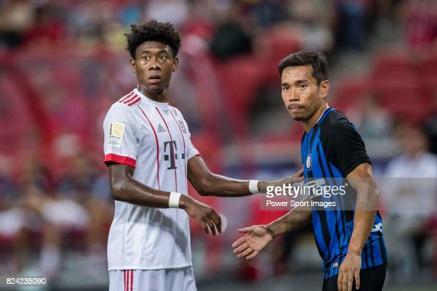 Internazionale Defender Yuto Nagatomo fights for position with Bayern Munich Defender David Alaba during the International Champions Cup match...
