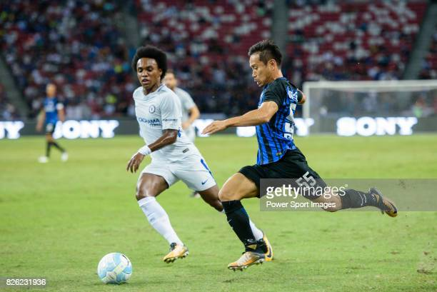 Internazionale Defender Yuto Nagatomo fights for the ball with Chelsea Midfielder Willian da Silva during the International Champions Cup 2017 match...
