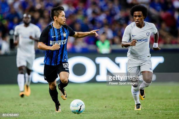 Internazionale Defender Yuto Nagatomo plays against Chelsea Midfielder Willian da Silva during the International Champions Cup 2017 match between FC...