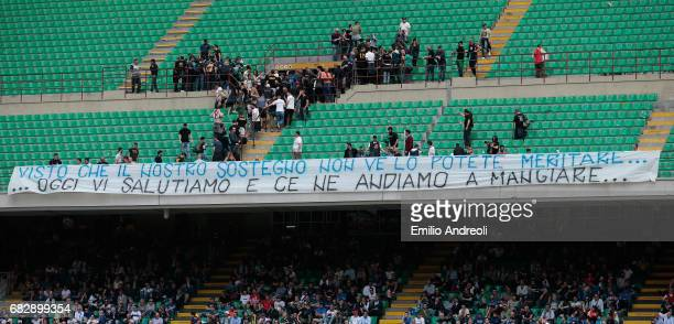 Internazionale fans display a banner during the Serie A match between FC Internazionale and US Sassuolo at Stadio Giuseppe Meazza on May 14 2017 in...