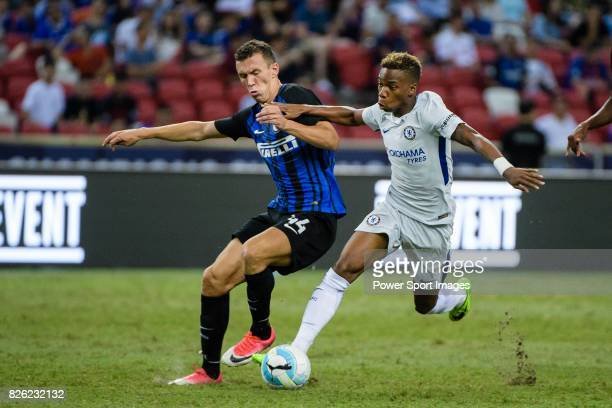 Internazionale Forward Ivan Perisic competes for the ball with Chelsea Midfielder Charly Musonda during the International Champions Cup 2017 match...