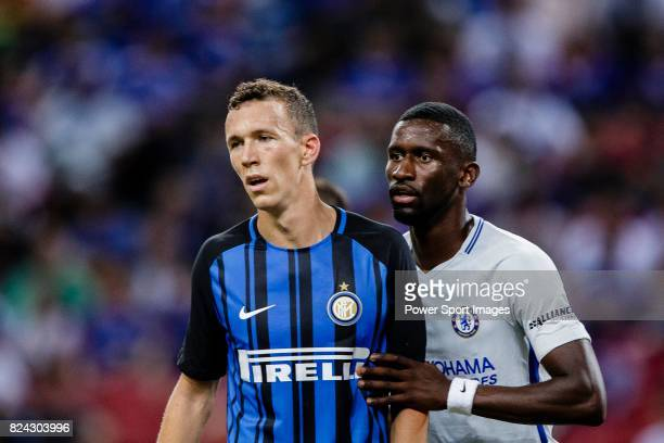 Internazionale Forward Ivan Perisic fights for position with Chelsea Defender Antonio Rudiger during the International Champions Cup 2017 match...