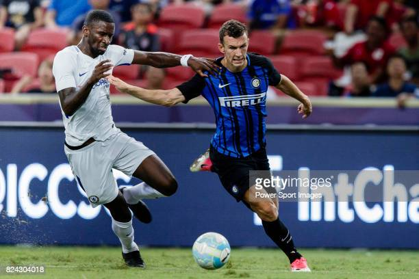 Internazionale Forward Ivan Perisic fights for the ball with Chelsea Defender Antonio Rudiger during the International Champions Cup 2017 match...