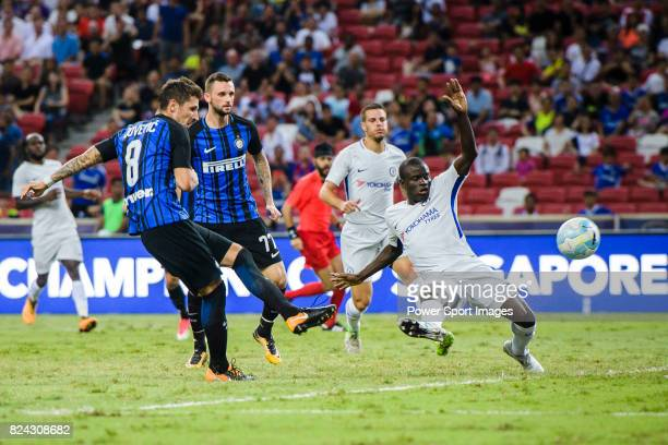 Internazionale Forward Stevan Jovetic attempts a kick while being defended by Chelsea Midfielder N'Golo Kante during the International Champions Cup...