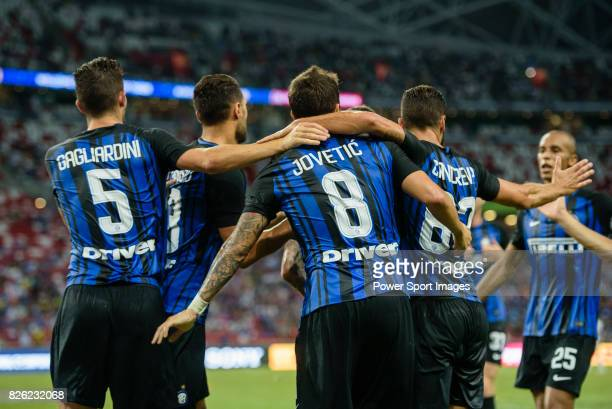 Internazionale Forward Stevan Jovetic celebrates his goal with his teammates during the International Champions Cup 2017 match between FC...