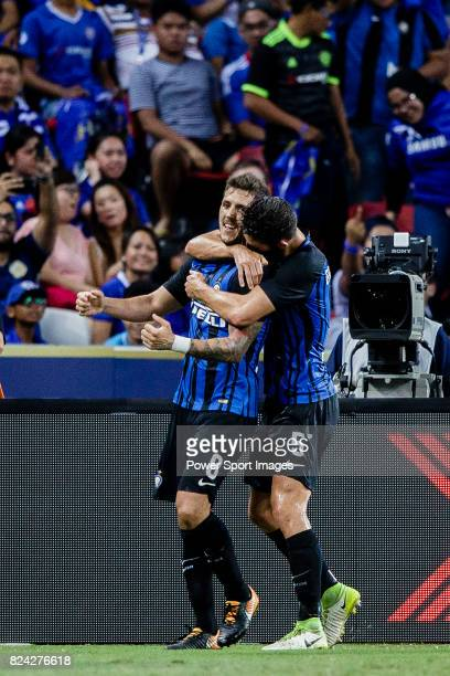Internazionale Forward Stevan Jovetic celebrating his goal with his teammate FC Internazionale Midfielder Roberto Gagliardini during the...