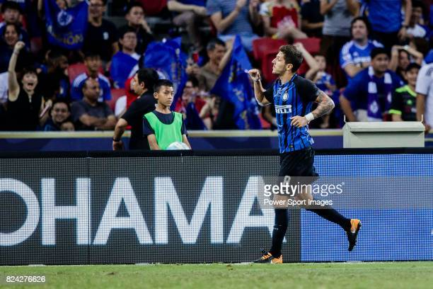 Internazionale Forward Stevan Jovetic celebrating his score during the International Champions Cup 2017 match between FC Internazionale and Chelsea...