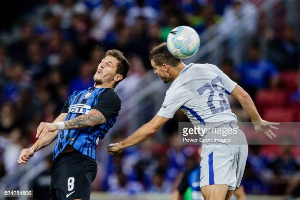 Internazionale Forward Stevan Jovetic fights for the ball with Chelsea Defender Cesar Azpilicueta during the International Champions Cup 2017 match...
