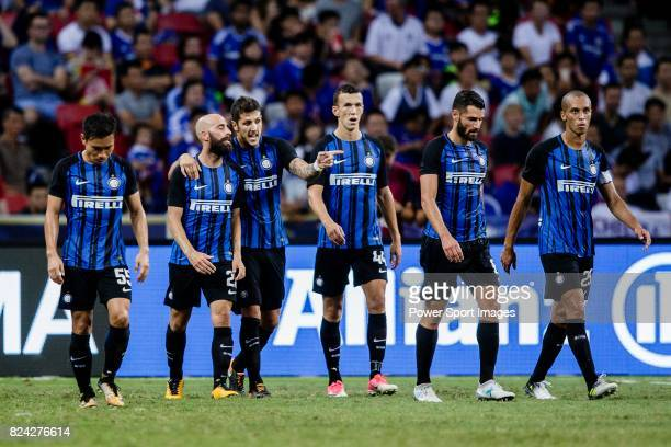 Internazionale Forward Stevan Jovetic gestures while celebrating his goal with his teammates during the International Champions Cup 2017 match...